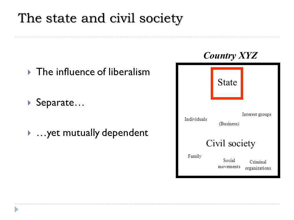 The function of the state  State-civil society relations  The systemic model Individual 3 Group 1 Group 2 Group 3 Group n Individual 1 Individual 2 Individual n State (political system) Inputs: demands & supports Outputs: Rewards & deprivations Feedback David Easton 1917— Country XYZ
