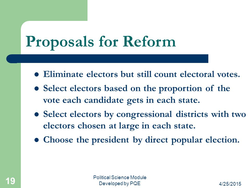 4/25/2015 Political Science Module Developed by PQE 19 Proposals for Reform Eliminate electors but still count electoral votes. Select electors based