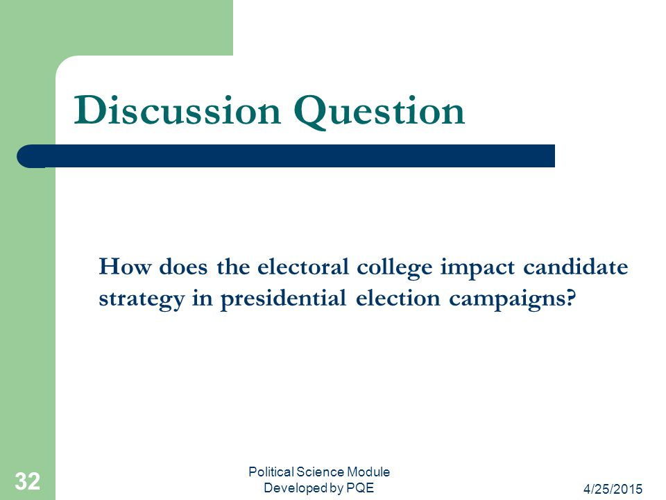4/25/2015 Political Science Module Developed by PQE 32 Discussion Question How does the electoral college impact candidate strategy in presidential el