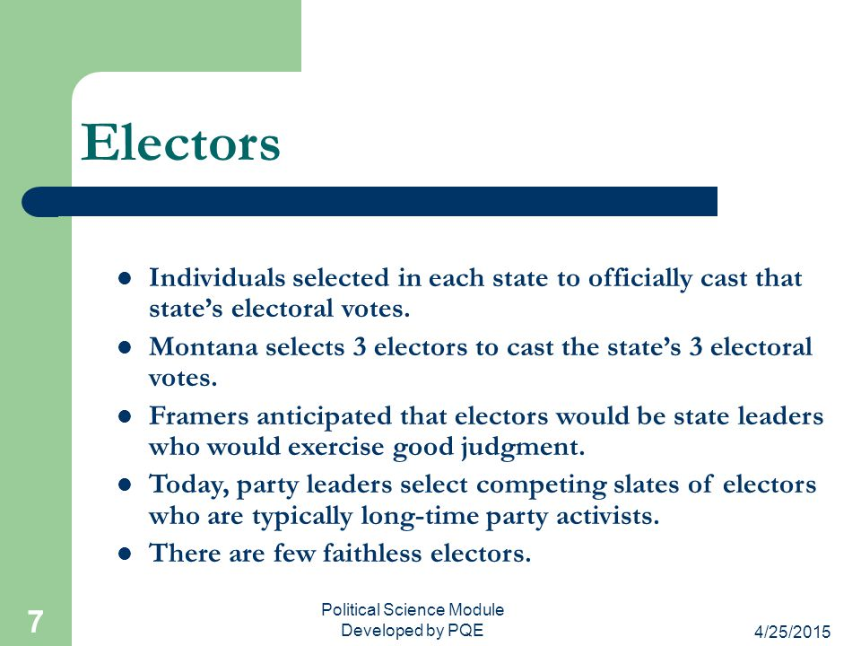 4/25/2015 Political Science Module Developed by PQE 8 Selection of Electors Each state determines the manner of selection.