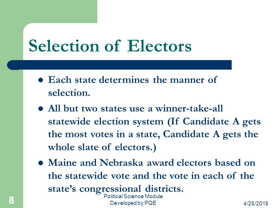 4/25/2015 Political Science Module Developed by PQE 8 Selection of Electors Each state determines the manner of selection. All but two states use a wi