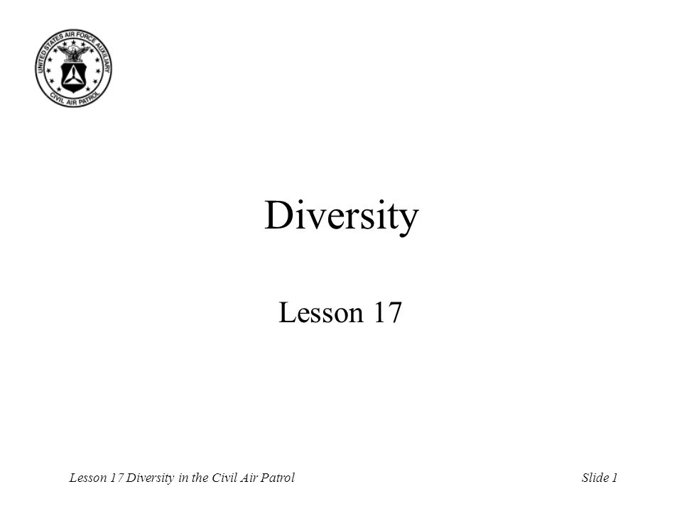 Lesson 17 Diversity in the Civil Air PatrolSlide 2 Overview Definition Importance Three paradigms of diversity Strategy