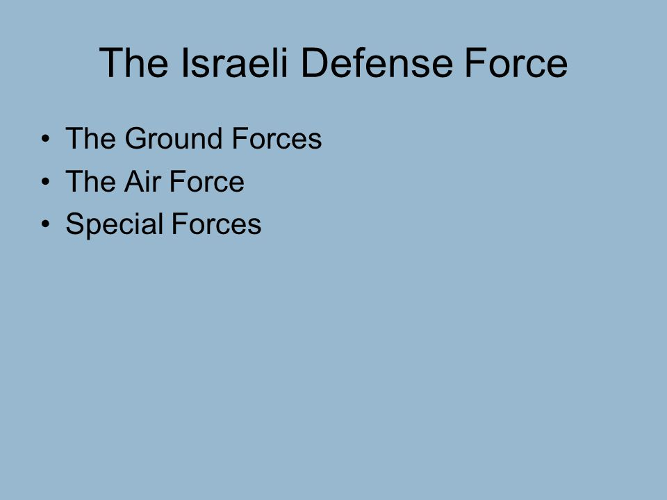 The Israeli Defense Force The Ground Forces The Air Force Special Forces