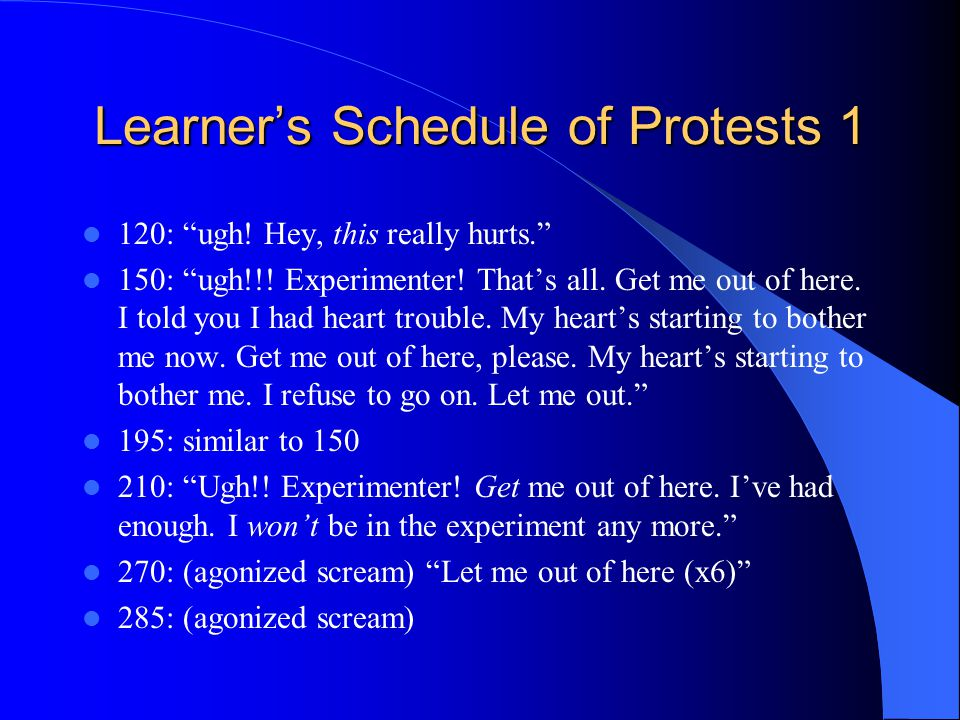 Learner's Schedule of Protests 1 120: ugh. Hey, this really hurts. 150: ugh!!.