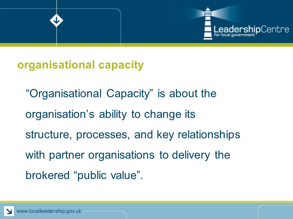 organisational capacity Organisational Capacity is about the organisation's ability to change its structure, processes, and key relationships with partner organisations to delivery the brokered public value .