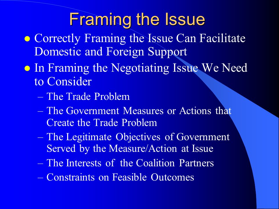 Competitive Negotiations l Focus is on bargaining over the difference between negotiating positions, with each side seeking an outcome closer to its position, which is viewed as gain for the home team and loss for foreign team l Negotiations become personalized, with the foreign negotiating position treated as the morally inferior, misguided view of the foreign negotiator l Hiding information about one's real interests and problems is seen as a source of strength, while leakage of information to the other side is seen as a source of weakness.