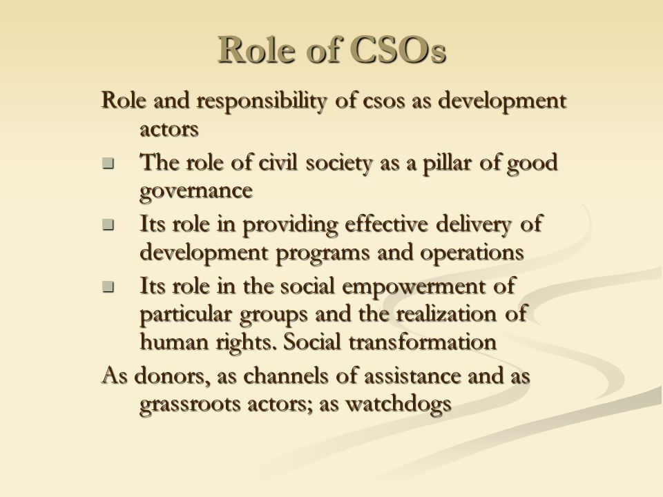 Role of CSOs Role and responsibility of csos as development actors The role of civil society as a pillar of good governance The role of civil society as a pillar of good governance Its role in providing effective delivery of development programs and operations Its role in providing effective delivery of development programs and operations Its role in the social empowerment of particular groups and the realization of human rights.