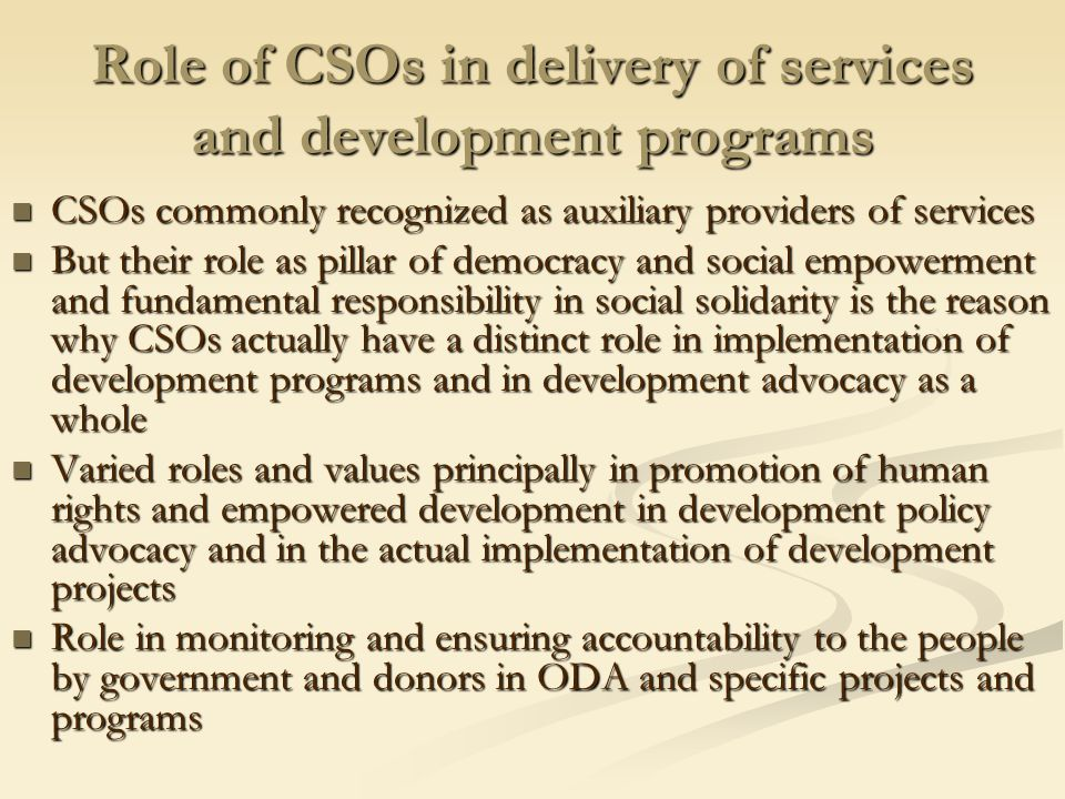 CSOs as part of aid architecture 1.