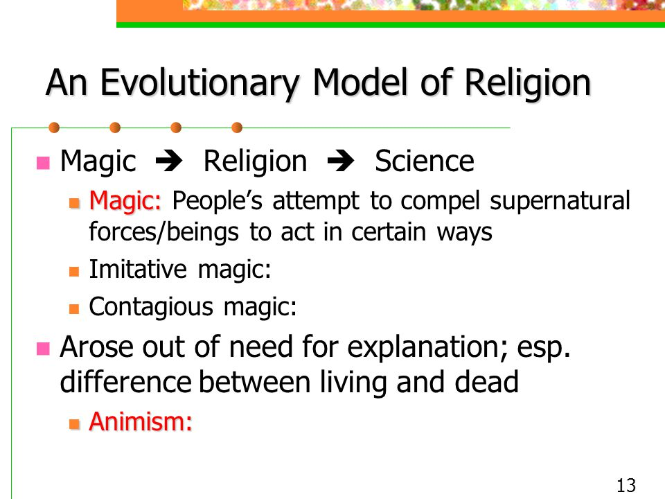 13 An Evolutionary Model of Religion Magic  Religion  Science Magic: Magic: People's attempt to compel supernatural forces/beings to act in certain