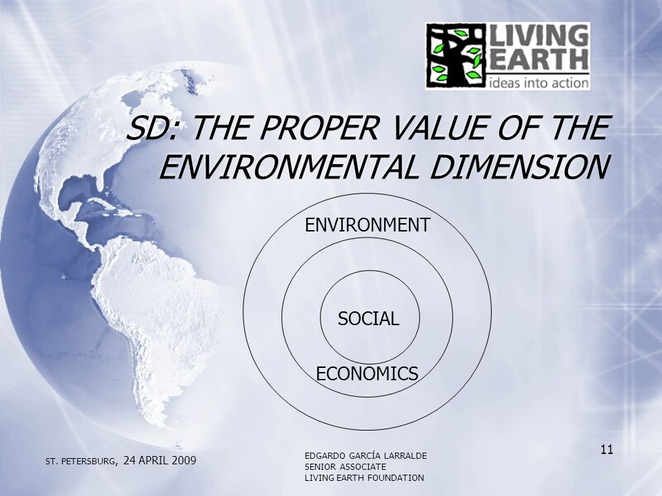 SD: THE PROPER VALUE OF THE ENVIRONMENTAL DIMENSION ENVIRONMENT ECONOMICS SOCIAL ST.