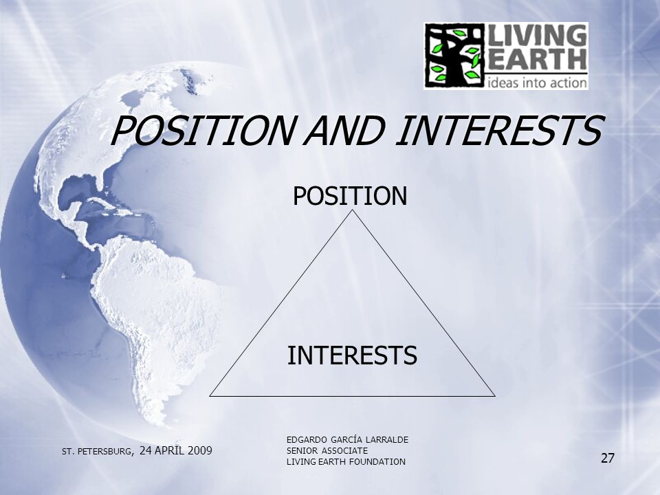 POSITION AND INTERESTS POSITION INTERESTS ST.