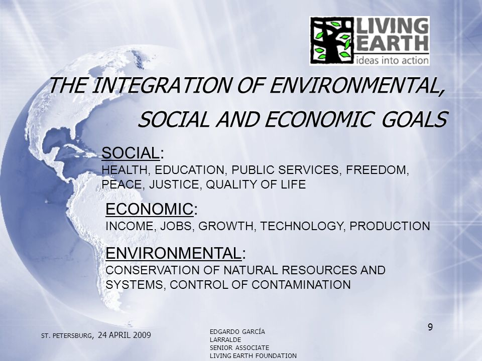 THE INTEGRATION OF ENVIRONMENTAL, SOCIAL AND ECONOMIC GOALS SOCIAL: HEALTH, EDUCATION, PUBLIC SERVICES, FREEDOM, PEACE, JUSTICE, QUALITY OF LIFE ECONOMIC: INCOME, JOBS, GROWTH, TECHNOLOGY, PRODUCTION ENVIRONMENTAL: CONSERVATION OF NATURAL RESOURCES AND SYSTEMS, CONTROL OF CONTAMINATION ST.