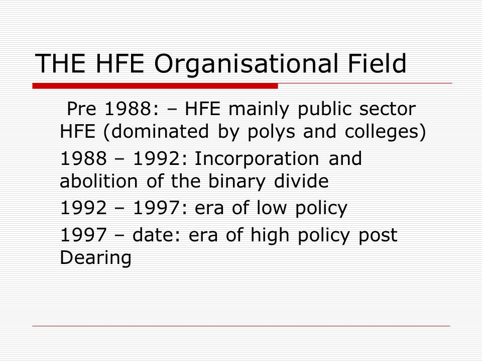 THE HFE Organisational Field Pre 1988: – HFE mainly public sector HFE (dominated by polys and colleges) 1988 – 1992: Incorporation and abolition of the binary divide 1992 – 1997: era of low policy 1997 – date: era of high policy post Dearing