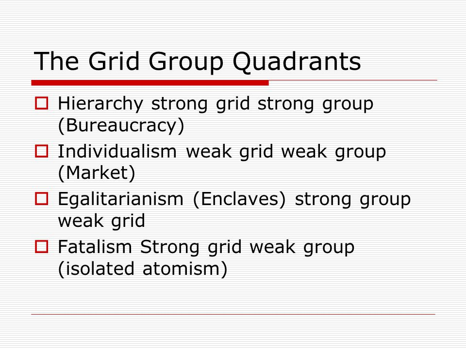 The Grid Group Quadrants  Hierarchy strong grid strong group (Bureaucracy)  Individualism weak grid weak group (Market)  Egalitarianism (Enclaves) strong group weak grid  Fatalism Strong grid weak group (isolated atomism)