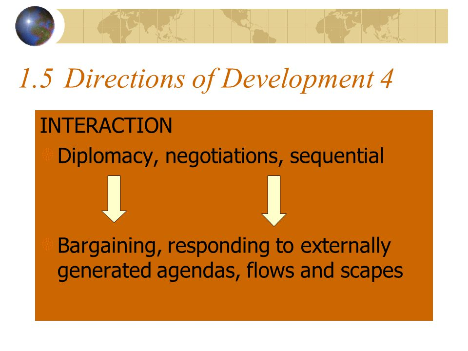 1.5Directions of Development 4 INTERACTION Diplomacy, negotiations, sequential Bargaining, responding to externally generated agendas, flows and scapes