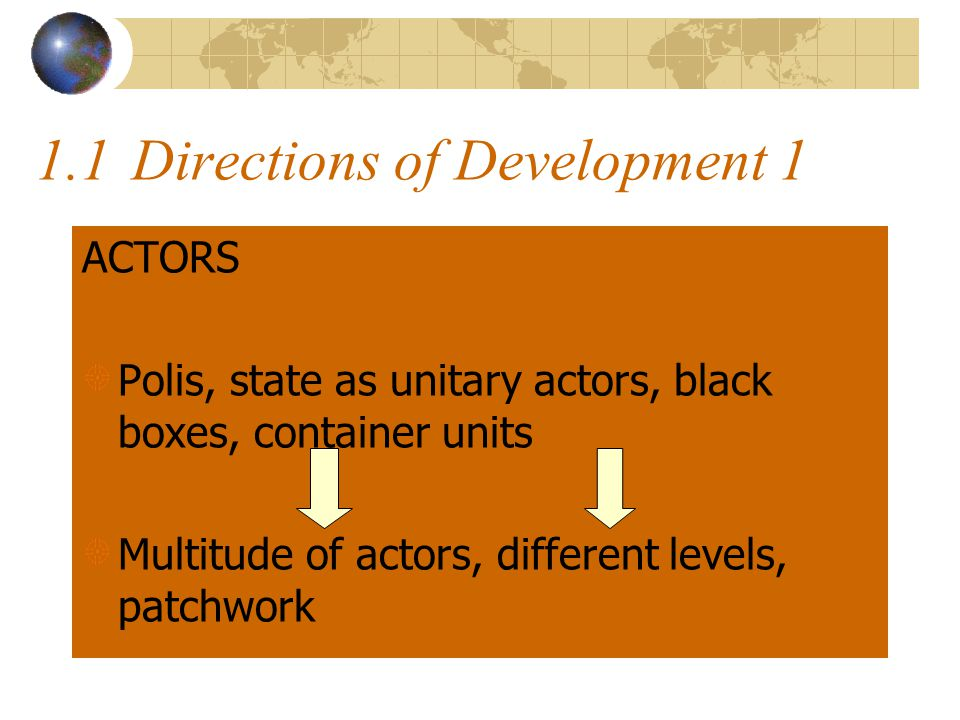 1.1Directions of Development 1 ACTORS Polis, state as unitary actors, black boxes, container units Multitude of actors, different levels, patchwork