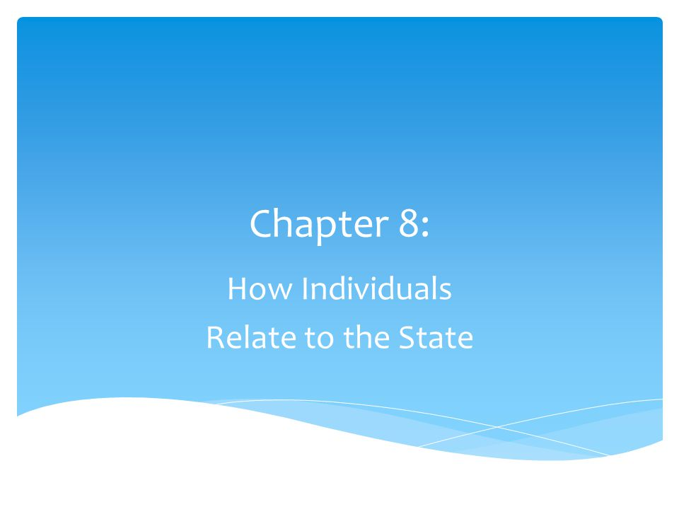 Chapter 8: How Individuals Relate to the State