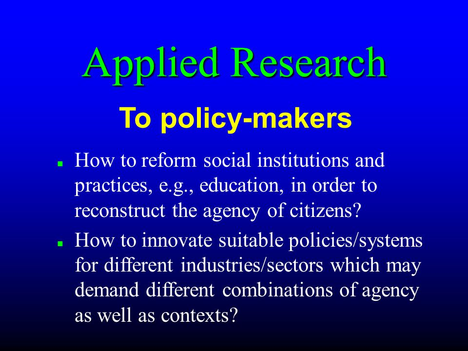 How to reform social institutions and practices, e.g., education, in order to reconstruct the agency of citizens.