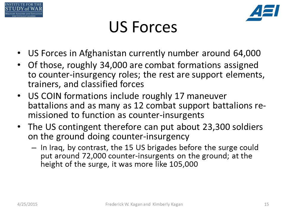 US Forces US Forces in Afghanistan currently number around 64,000 Of those, roughly 34,000 are combat formations assigned to counter-insurgency roles; the rest are support elements, trainers, and classified forces US COIN formations include roughly 17 maneuver battalions and as many as 12 combat support battalions re- missioned to function as counter-insurgents The US contingent therefore can put about 23,300 soldiers on the ground doing counter-insurgency – In Iraq, by contrast, the 15 US brigades before the surge could put around 72,000 counter-insurgents on the ground; at the height of the surge, it was more like 105,000 4/25/2015Frederick W.