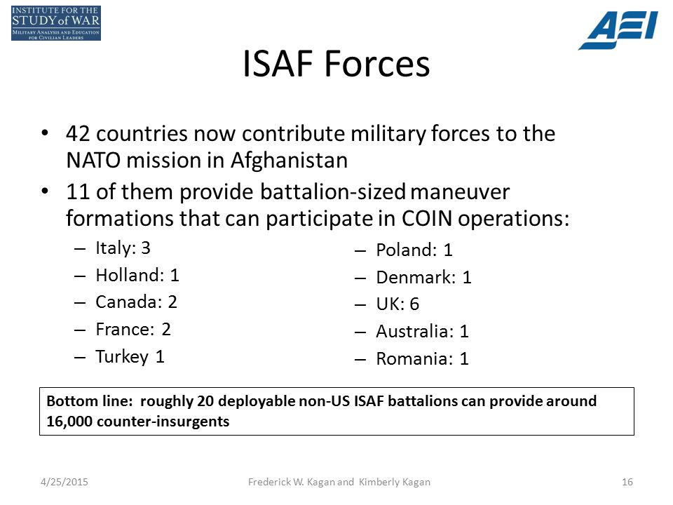 ISAF Forces 42 countries now contribute military forces to the NATO mission in Afghanistan 11 of them provide battalion-sized maneuver formations that can participate in COIN operations: – Italy: 3 – Holland: 1 – Canada: 2 – France: 2 – Turkey 1 – Poland: 1 – Denmark: 1 – UK: 6 – Australia: 1 – Romania: 1 4/25/2015Frederick W.
