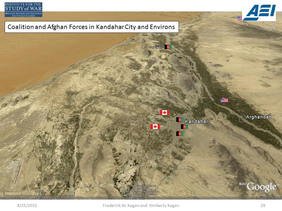 Coalition and Afghan Forces in Kandahar City and Environs 4/25/201529Frederick W.