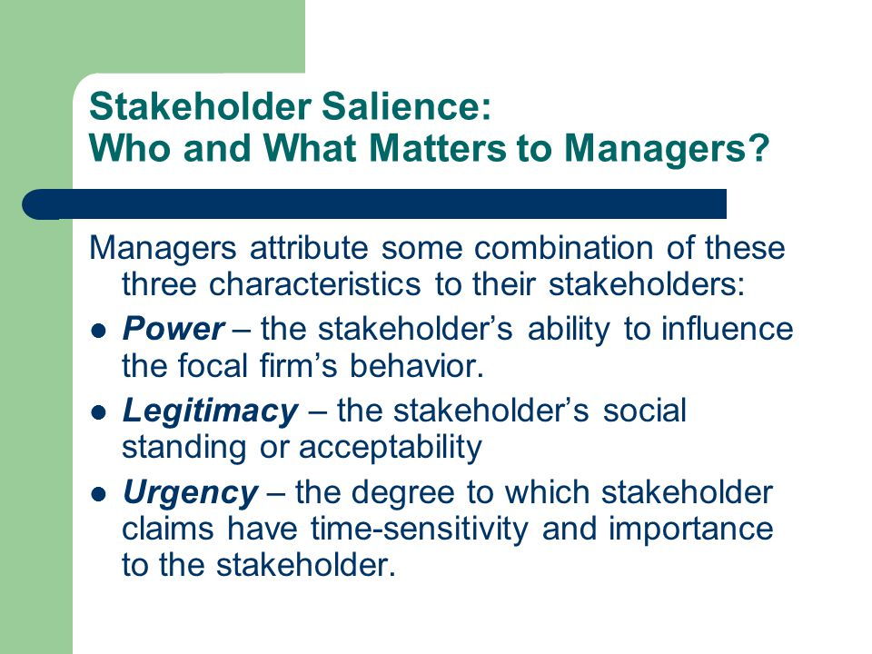 Stakeholder Salience: Who and What Matters to Managers.