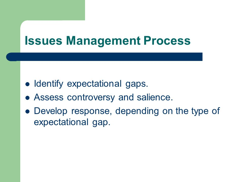 Issues Management Process Identify expectational gaps.