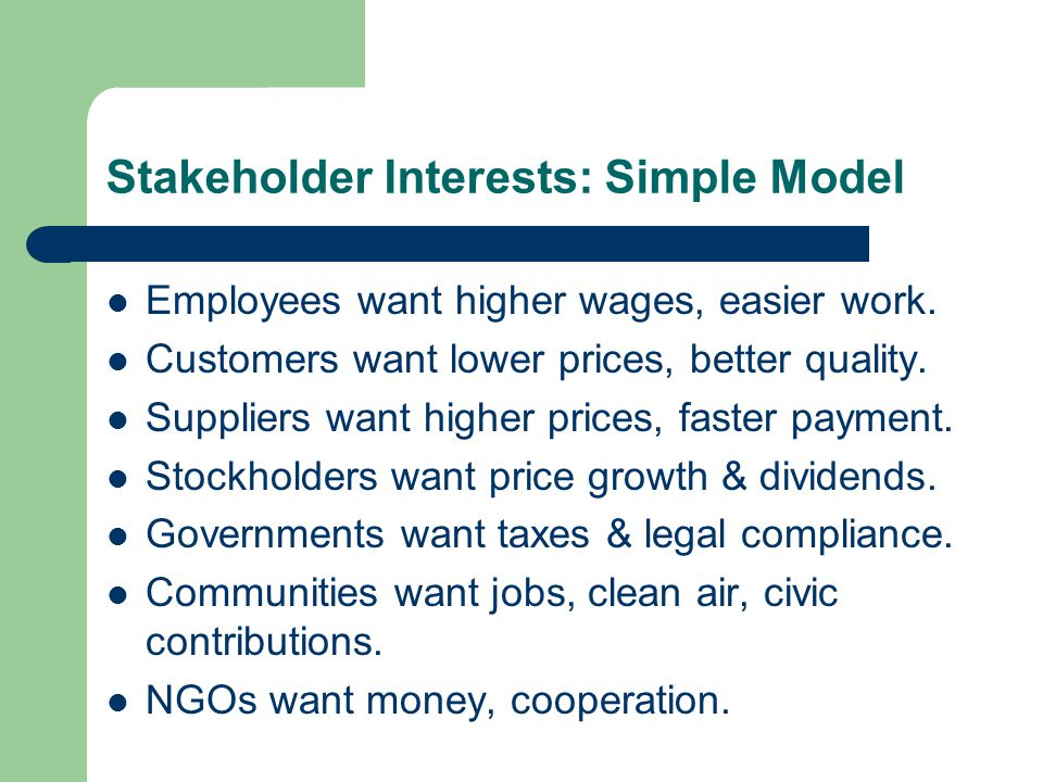 Stakeholder Relationship Management All companies need to manage their relationships with stakeholders, – To avoid harms and ensure legitimate benefits to stakeholders, – To monitor the latent stakeholders, – To prevent stakeholders from harming the company, – To reap the benefits that stakeholders can offer the company.