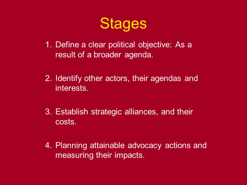 Stages 1.Define a clear political objective: As a result of a broader agenda.