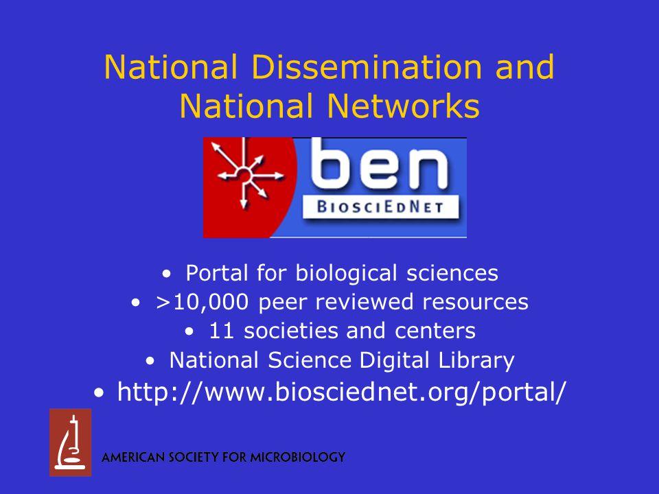 National Dissemination and National Networks Portal for biological sciences >10,000 peer reviewed resources 11 societies and centers National Science Digital Library http://www.biosciednet.org/portal/