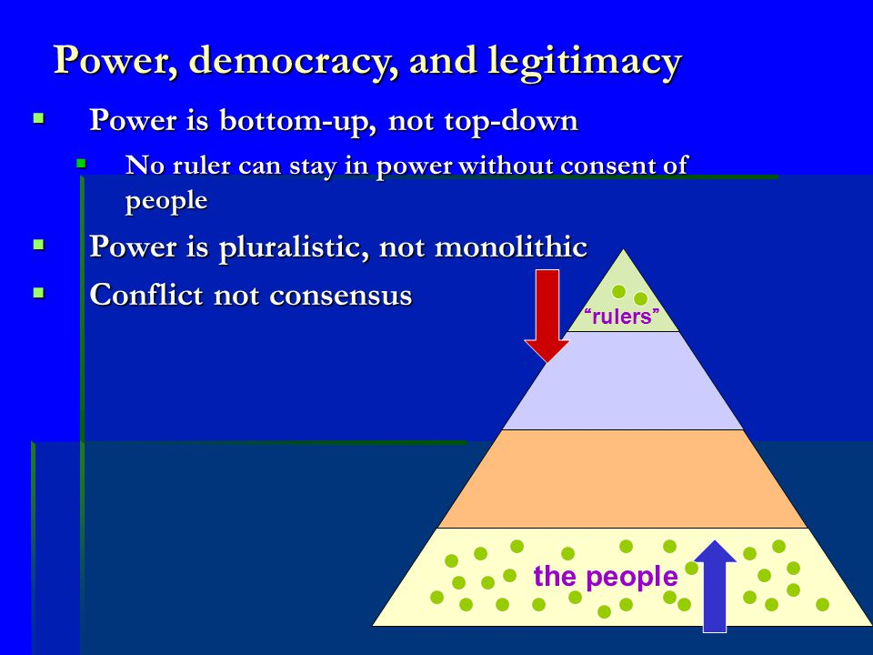 Power, democracy, and legitimacy  Power is bottom-up, not top-down  No ruler can stay in power without consent of people  Power is pluralistic, not monolithic  Conflict not consensus the people rulers