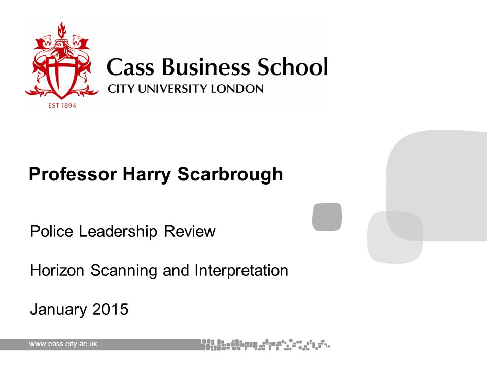 www.cass.city.ac.uk Police Leadership Review Horizon Scanning and Interpretation January 2015 Professor Harry Scarbrough