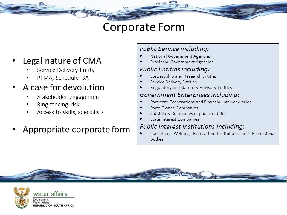Corporate Form Legal nature of CMA Service Delivery Entity PFMA, Schedule 3A A case for devolution Stakeholder engagement Ring-fencing risk Access to skills, specialists Appropriate corporate form Public Service including:  National Government Agencies  Provincial Government Agencies Public Entities including:  Stewardship and Research Entities  Service Delivery Entities  Regulatory and Statutory Advisory Entities Government Enterprises including:  Statutory Corporations and Financial Intermediaries  State Owned Companies  Subsidiary Companies of public entities  State Interest Companies Public Interest Institutions including:  Education, Welfare, Recreation Institutions and Professional Bodies