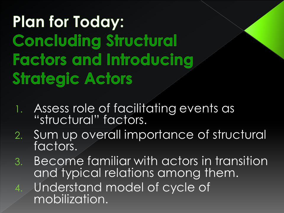 1. Assess role of facilitating events as structural factors.
