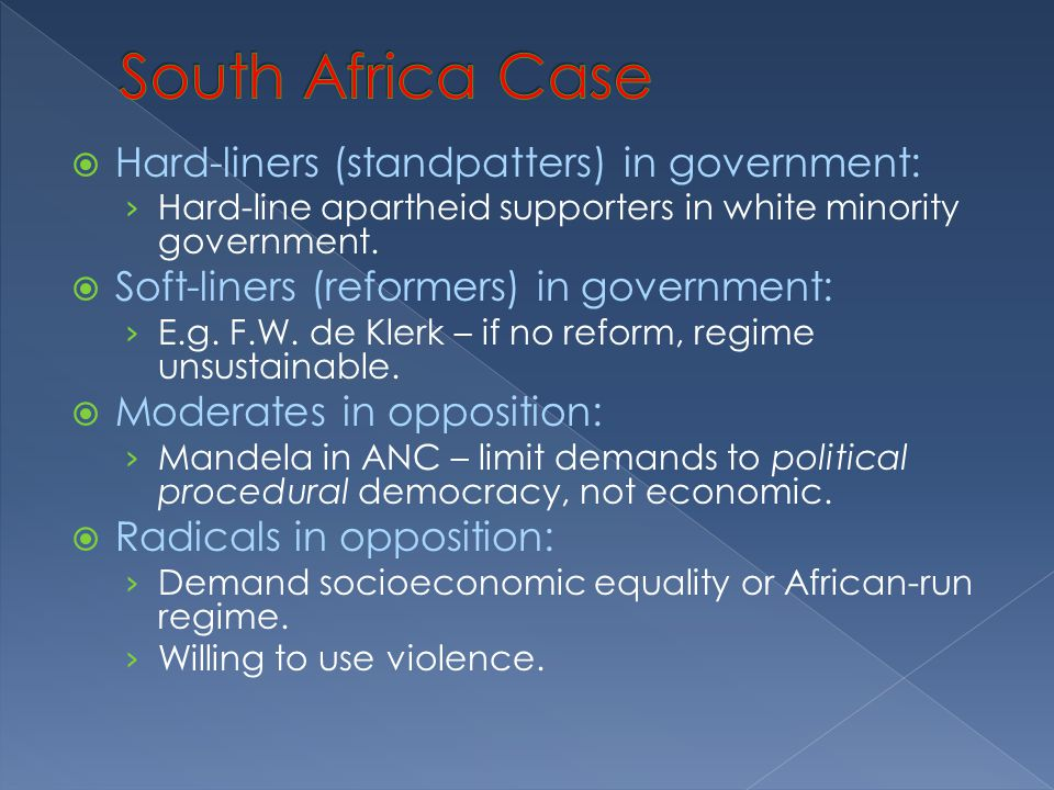  Hard-liners (standpatters) in government: › Hard-line apartheid supporters in white minority government.