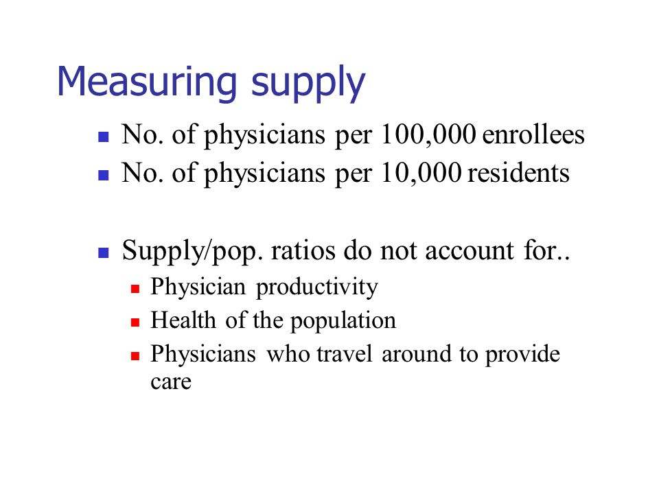 Measuring supply No. of physicians per 100,000 enrollees No.