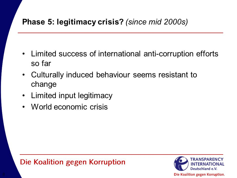 88 Phase 5: legitimacy crisis? (since mid 2000s) Limited success of international anti-corruption efforts so far Culturally induced behaviour seems re