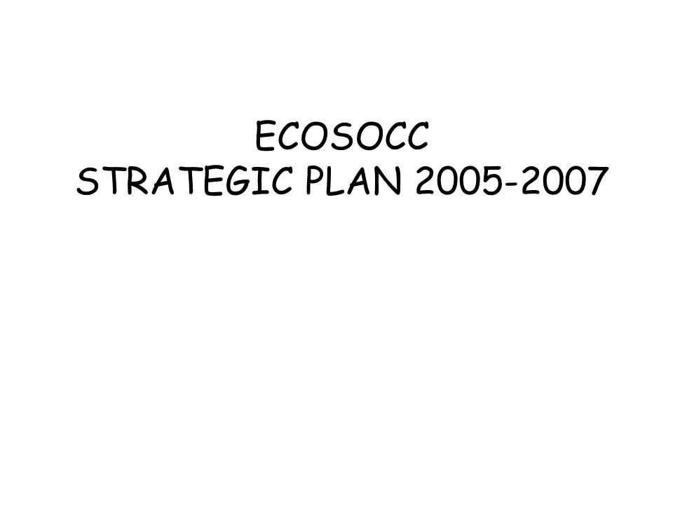 ECOSOCC STRATEGIC PLAN 2005-2007