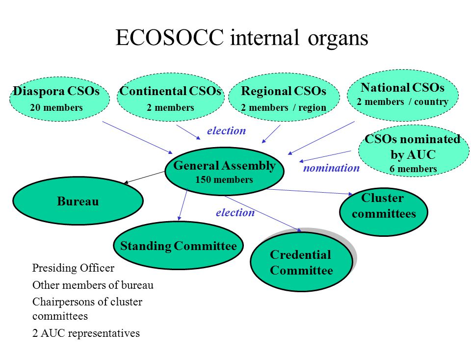 ECOSOCC internal organs National CSOs 2 members / country Credential Committee Credential Committee Cluster committees Standing Committee General Assembly 150 members Regional CSOs 2 members / region Continental CSOs 2 members Diaspora CSOs 20 members election Presiding Officer Other members of bureau Chairpersons of cluster committees 2 AUC representatives Bureau CSOs nominated by AUC 6 members nomination