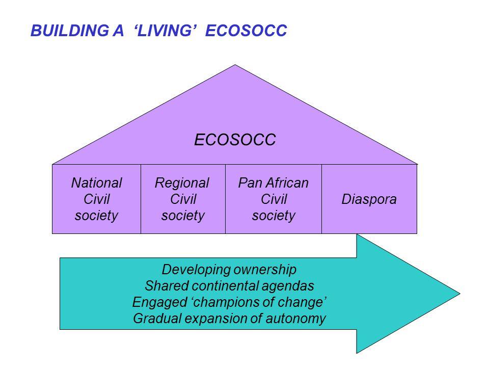 BUILDING A 'LIVING' ECOSOCC ECOSOCC National Civil society Regional Civil society Pan African Civil society Diaspora Developing ownership Shared conti
