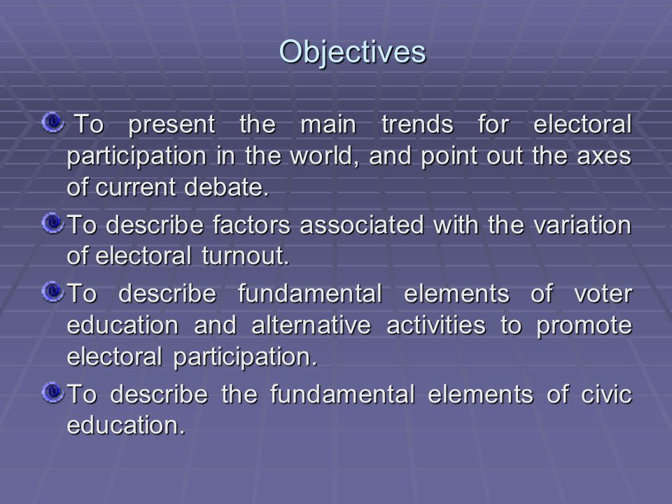 Factors associated with voter turnout Factors ELECTORAL TURNOUT GENERAL1997-19981999-20012002-20042005-2007N Contextual Contextual Civil Freedoms- FH.423(**) 0.378.610(*)0.4560.48854 Political Rights- FH.378(**) 0.0240.4140.461.567(*)54 Electoral Type of electoral system 0.256 0.547(*)0.348-0.0060.20651 Party system Competitivity Rate 0.122 0.3520.275-0.127-0.28345 Number of parties 0.127 -0.0280.4560.0490.2853 Legitimacy of party system 0.22.591(*)0.0740.421-0.38451 Indispensable political parties 0.258.557(*)0.1860.339-0.20851 Trust in political parties 0.103 0.481-0.120.327-0.50151 Legitimacy of Elections 0.047 -0.1820.4740.43-0.552 Transparent elections 0.046 -0.1910.260.389-0.3252 The vote is a real choice 0.025 -0.065.657(*)0.413-.531(*)52 Institutionalization rate of political party system 0.056 0.2170.1030.045-0.254 *The correlation is significant on level 0,05 (bilateral).