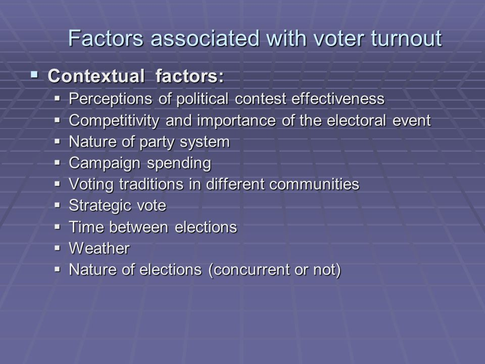 Factors associated with voter turnout  Contextual factors:  Perceptions of political contest effectiveness  Competitivity and importance of the electoral event  Nature of party system  Campaign spending  Voting traditions in different communities  Strategic vote  Time between elections  Weather  Nature of elections (concurrent or not)