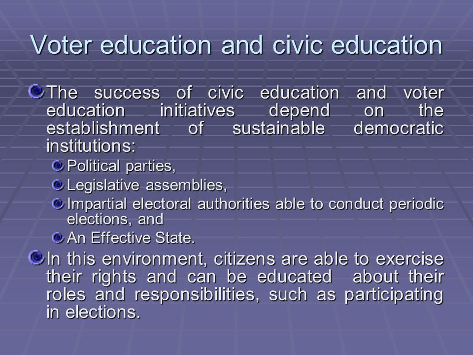 Voter education and civic education The success of civic education and voter education initiatives depend on the establishment of sustainable democratic institutions: Political parties, Legislative assemblies, Impartial electoral authorities able to conduct periodic elections, and An Effective State.