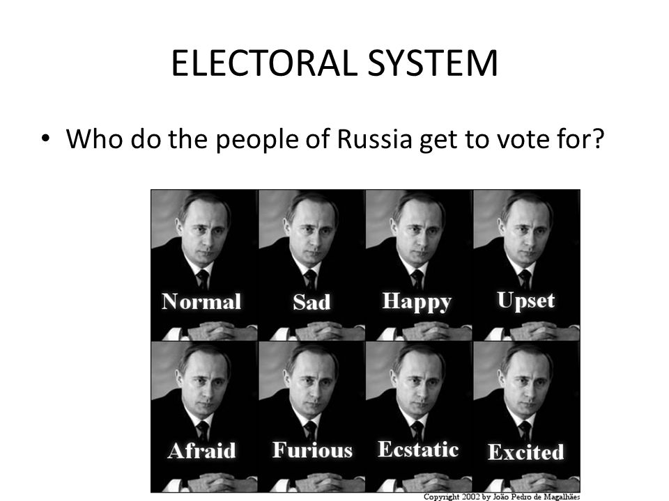 ELECTORAL SYSTEM Who do the people of Russia get to vote for