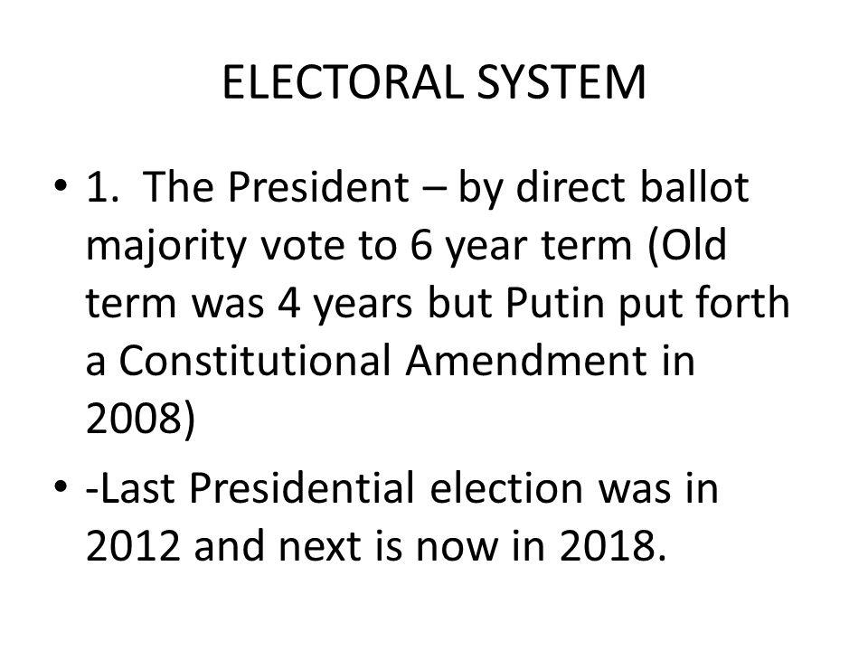 ELECTORAL SYSTEM 1.