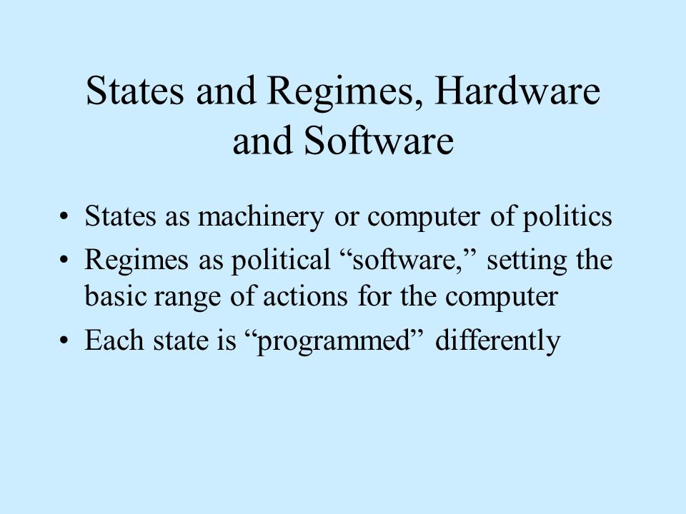 States and Regimes, Hardware and Software States as machinery or computer of politics Regimes as political software, setting the basic range of actions for the computer Each state is programmed differently