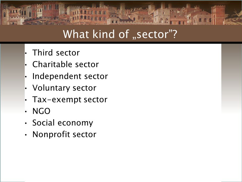 """Third sector Charitable sector Independent sector Voluntary sector Tax-exempt sector NGO Social economy Nonprofit sector What kind of """"sector"""
