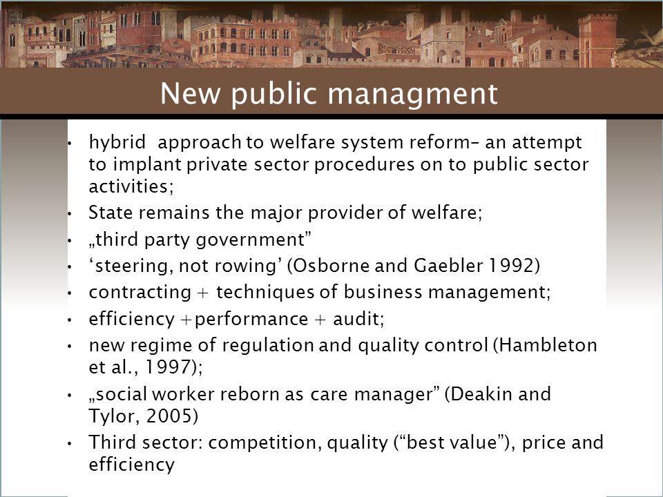 hybrid approach to welfare system reform– an attempt to implant private sector procedures on to public sector activities; State remains the major prov