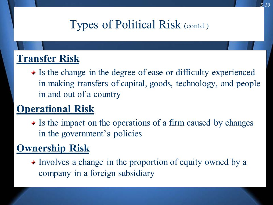 3-13 Types of Political Risk (contd.) Transfer Risk Is the change in the degree of ease or difficulty experienced in making transfers of capital, goods, technology, and people in and out of a country Operational Risk Is the impact on the operations of a firm caused by changes in the government's policies Ownership Risk Involves a change in the proportion of equity owned by a company in a foreign subsidiary