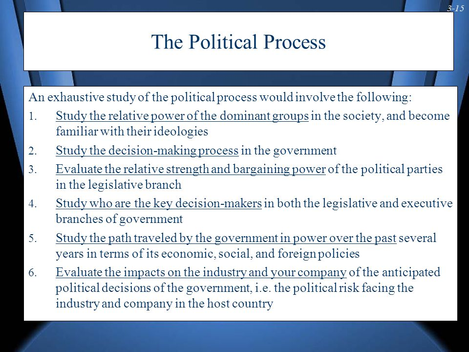 3-15 The Political Process An exhaustive study of the political process would involve the following: 1. Study the relative power of the dominant group